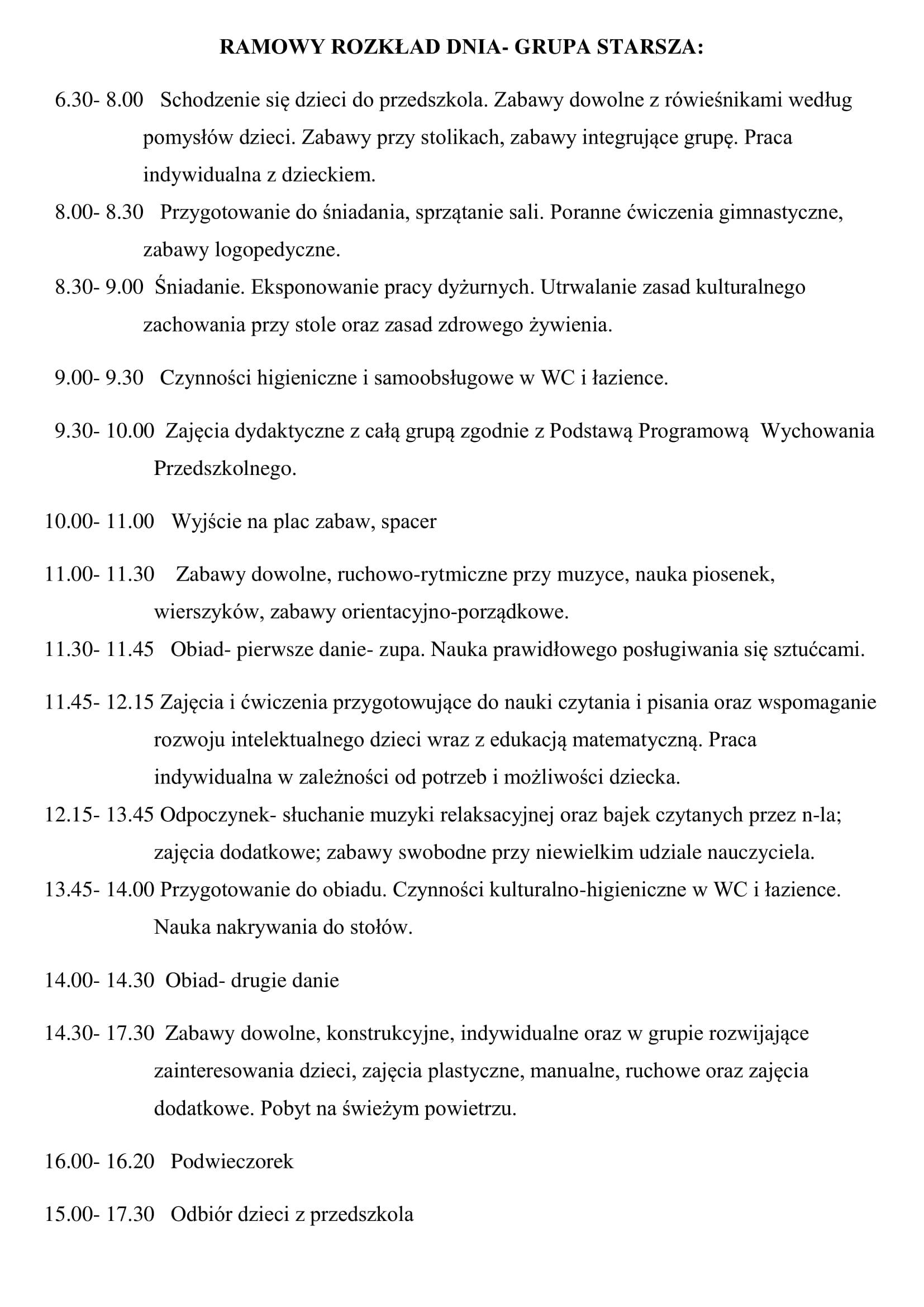 Plan Dnia Przedszkole Delfin Olsztyn